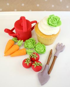 Edible Cake cupcake Topper Garden Vegetables and 1 Watering Can, lettuce,radish, tomatoes, rake, shovel