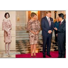 It is already eavning in Japan so the end off day two of the State Visted to Japan the King and Queen are having dinner with the president of Japan  In Tokio is het al avond. Koningin Máxima draagt een creatie van Jan Taminiau, aan het slot van dag 2 van het staatsbezoek aan Japan.  #koninginmaxima #Statevisit #dress #JanTaminiau #japannl
