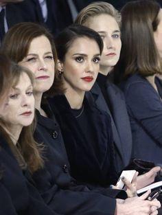 #Dior show in Paris. French actress: Isabelle Huppert, Sigourney Weaver, Jessica Alba & Leelee Sobieski