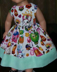 "Doll Clothes-Handmade-American Girl Dolls-Fits18""-Shopkins and Spearmint Dress. #Handmade"