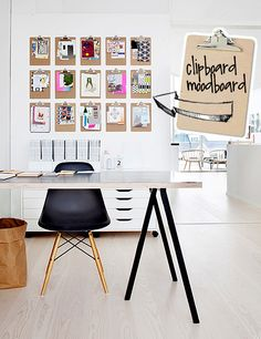 Hmm... clip boards as wall art/ inspiration board. Paint them different colors.