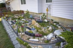 Mark Hann of O'Fallon, Missouri who is a Cuivre River Electric Cooperative, does garden railroading in his backyard.