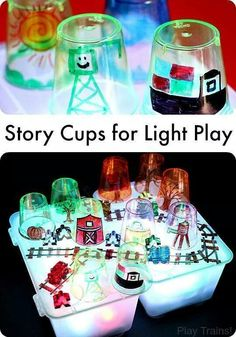 Cups for Light Play DIY Story Cups for Light Play -- fun for light table storytelling or pretend play from Play Trains!DIY Story Cups for Light Play -- fun for light table storytelling or pretend play from Play Trains! Sensory Table, Sensory Bins, Sensory Activities, Sensory Play, Toddler Activities, Preschool Activities, Health Activities, Family Activities, Reggio Emilia