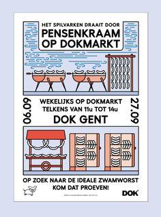 Poster for the sausage stall of 'het spilvarken' (at) DOKmarkt in september digital design for the 3 color RISO print printed (at) Topo Copy August 2015, Ghent