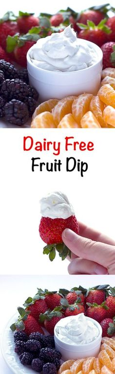 Dairy Free Fruit Dip - Fluffy, sweet, and slightly tangy fruit dip that's dairy free, gluten free, and vegan. Made with coconut milk. (Replace sugar for Paleo) Lactose Free Recipes, Allergy Free Recipes, Vegan Gluten Free, Vegan Recipes, Fruit Recipes, Lactose Free Snacks, Dairy Free Meals, Dairy Free Gluten Free Desserts, Cookie Recipes
