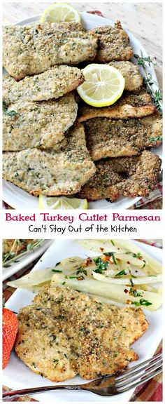 Baked Turkey Cutlet Parmesan - Can't Stay Out of the Kitchen Turkey Cutlet Recipes, Wild Turkey Recipes, Cutlets Recipes, Chicken Recipes, Turkey Tenderloin, Turkey Cutlets, Chicken Cutlets, Baked Turkey, Sliced Turkey