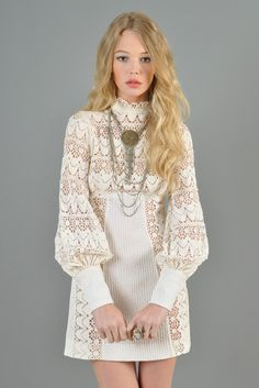 Vintage White Crochet Lace Mini Dress Size S 8 10 Festival Boho Hippie 1960s Fashion Dress, 70s Fashion, Fashion Dresses, Vintage Fashion, Vintage 70s, Hippie Boho, Hippie Style, Bohemian, White Lace Mini Dress