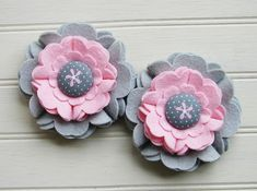 Wool Felt Flowers  Large Blooms Pink & Gray от AMarketCollection