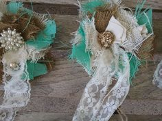 Shabby rustic Curtain Drapery Tie-Backs set handmade tattered New aqua flowers #Handmade #Shabbycottagechic