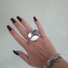 Large Disc ring Sterling silver 925 | Etsy Gel Cushion, Cocktail Rings, Sterling Silver Rings, Band, Etsy, Jewelry, Sash, Jewlery, Sterling Silver Thumb Rings