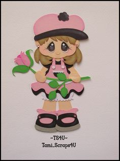 Pink & Black Girl with Rose Foam Crafts, Diy And Crafts, Crafts For Kids, Paper Crafts, Paper Piecing, Paper Dolls Book, Cute Baby Dolls, Felt Dolls, Cute Illustration