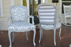 I have this exact chair waiting to be re done think I just found my inspiration!! French Arm Chairs by ChairWhimsy on Etsy, $700.00