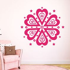 Mandala Wall Decals Indian Pattern Heart Star Yoga Studio Vinyl Sticker MR553 #STICKALZ #MuralArtDecals