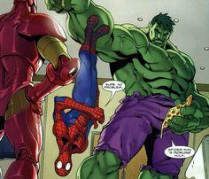 Spider man sticking to the Hulk