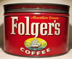 Vintage Folgers One Pound Coffee Tin Can 1959 ~ J. Folgers & Co. in Collectibles, Advertising, Food & Beverage Folgers Coffee, Coffee Canister, Coffee Tin, Coffee Corner, Vintage Metal Signs, Vintage Tins, Vintage Coffee, One Pound, Old Things