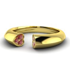 0.11Cts Natural Garnet Heart Wedding Band Ring in 10k Yellow Gold Womens Jewelry | eBay