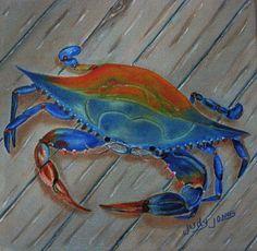 Blue Crab On The Dock - painting by Judy Jones fineartamerica.com #bluecrab #sealife #wallart Great Paintings, Paintings For Sale, Beach Paintings, Canvas Art, Canvas Prints, Art Prints, Crab Painting, Thing 1, Fantastic Art