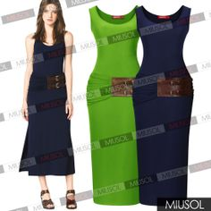 Womens Ladies CELEB Sleeveless Long Maxi Dress Jersey Strech Bodycon Vest Smart Slim Fit Dress Features: Intro: Excellent Quality Maxi Dress,Approx Length - 120-124 cm,Machine Washable,size 0-18 Color:   Green,Dark Blue Material: Rayon+Polyester+Spandex, Package:  1 x Dress (other accessories on pictures are NOT included.)