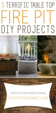 3 Terrific Table Top Fire Pit DIY Projects - The Cottage Market