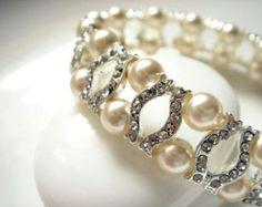 Rebecee Vintage Inspired Pearl and Crystal Tennis Bracelet - Classic Wedding Bracelet - Bridal Jewelry - Wedding Cuff Bracelet - Ivory Pearl