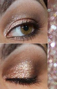 nude bronze smokey sparkles, this eye makeup is very pretty!