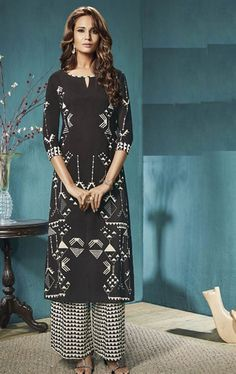 Picture of Decorous Black Ready Made Salwar Suit