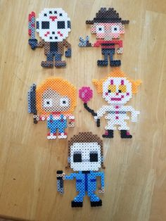 Jason Freddy Chucky It the Clown Michael Myers Perler Perler Bead Templates, Diy Perler Beads, Perler Bead Art, Pearler Beads, Melty Bead Patterns, Pearler Bead Patterns, Perler Patterns, Beading Patterns, Pixel Art