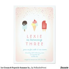 Ice Cream & Popsicle Summer Invitation Pink