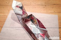 Schenken ohne Verpackungsmüll: Faltschachtel aus Altpapier Textiles, Deco, Gifts For Friends, Recycling, Best Gifts, Gift Wrapping, Crafty, Paper, Cards