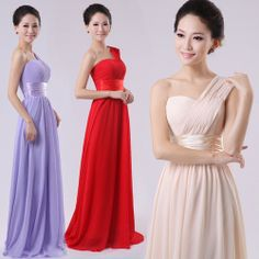 New 2014 2014 Long Wedding Bridesmaid One Shoulder Dress Chiffon Formal  Dresses CUSTOM SIZE AND COLOR AVAILABLE $29.99