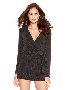 Black Glitter Texture Playsuit