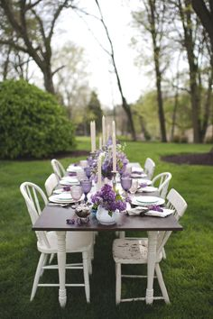 Outdoor, purple wedding reception | Magnolia Street Photography | see more on: http://burnettsboards.com/2014/09/blackberry-green-wedding-inspiration/ #BlushFloralDesignStudio