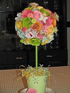 Ceramic pot (DI or garage sale), peg/stick ( Walmart had them for less than a dollar.), styrofoam ball (or any other type of childrens' ball that you can find for cheap), paper flowers and embellishments. SO cute for your Easter decor!