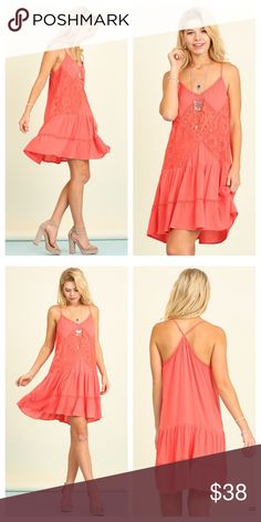 Coral Racerback Sundress Beautiful coral colored racerback sundress with crochet details. Fits true to size 🙂 Dresses