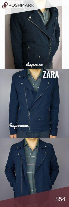 f3c461b831 Zara Mens Size XL Linen Jacket ZARA BASIC COLLECTION BLUE LINEN BIKER JACKET  BRAND NEW TAGS