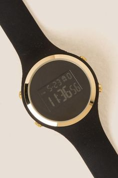 Nina Round Digital Watch- Black alternate