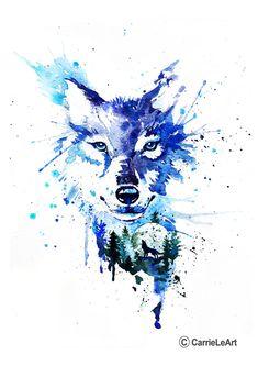 Wolf Print Wolf WatercolourWolf Wall art Original by CarrieLeArt