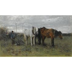 Anton Mauve - a ploughing farmer; Medium: oil on canvas