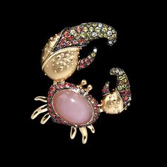 Mousson Atelier, collection Eden - Crab, brooch, Yellow gold 750, Moonstone 6,64 ct., Diamonds, Orange sapphires, Yellow sapphires
