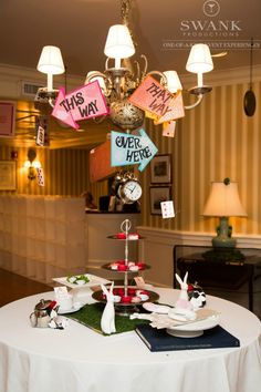 Alice In Wonderland Bat Mitzvah Party - Whimsical Signs {Party by Swank Productions, Sean Smith Photography} - mazelmoments.com