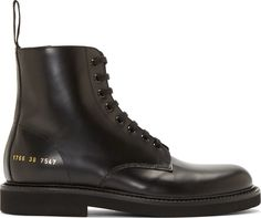 Common Projects Black Leather Combat Boots, Ankle-high buffed leather boots in black. Round toe. Tonal lace-up closure. Textile pull-tab at heel collar. Zip closure at inner side. Signature series stamp at outer heel in gold. Tonal rubber sole. Tonal stitching. Upper: leather. Sole: rubber. Made in Italy