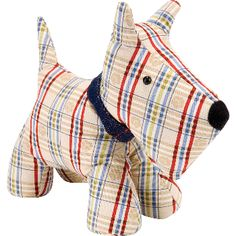 This cute little Scottie Dog doorstop from Ulster Weavers is made from a fun tartan fabric. Dog Door Stop, Soft Sculpture, Cute Characters, Sewing Projects, Sewing Ideas, Dinosaur Stuffed Animal, Doge, Decoration, Animals
