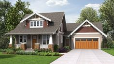 Traditional Craftsman Home with Modern Design. House Plan 22208: The Davidson is a 2292 SqFt Cottage, and Craftsman style home floor plan featuring amenities like Covered Patio, Den, Loft, and Mud Room by Alan Mascord Design Associates Inc.