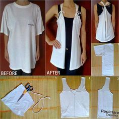 Que bonito es reciclar!Aus einem alten T ShirtIdeas ropa paso a pasoPinned by Qkwaisarah Bray HarveyTrendy vest from old T-Shirt Umgestaltete Shirts, Diy Cut Shirts, T Shirt Diy, Diy Tshirt Ideas, Diy Clothes Refashion, Shirt Refashion, Clothes Crafts, Sewing Clothes, Diy Vetement