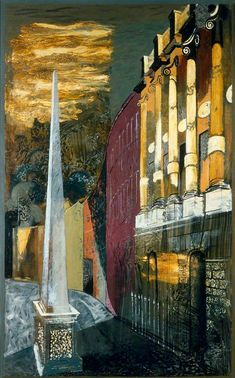John Piper, Mural commissioned for the British Embassy, Rio de Janeiro, 1949: Bath, Grosvenor Crescent, oil on canvas, 197.5 x 123 cm. Government Art Collection.