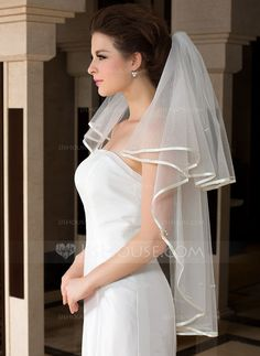 One-tier Fingertip Bridal Veils With Ribbon Edge (006036609)