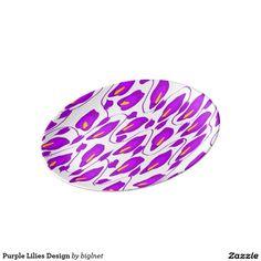 Purple Lilies Design Porcelain Plate