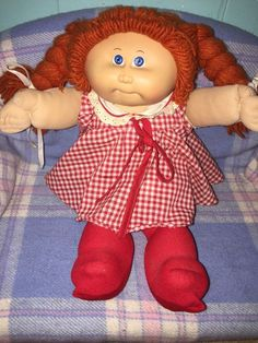 """16"""" VTG Cabbage Patch Kids Girl Red Hair Plaid Dress & Stockings HM 4 Ok Factory #CabbagePatchKids #DollswithClothingAccessories"""
