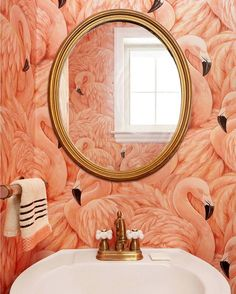 This flamingo wallpaper is everything! See more of @michellecgage's home on A Beautiful Mess this morning. #ABMathome
