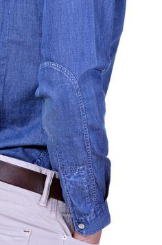 Detail Blue Plain Denim Custom Agho Men's Shirt